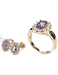 Ah! Jewellery 1.45ct GENUINE AMETHYST Ring & Studs 2pcs SET with Brilliant Little Rounds Surrounding. Gold Filled UK Guarantee 3µ / 10 years. Stamped GL.