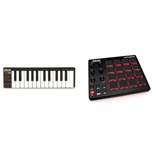 Akai Professional LPK25 Laptop Performance USB MIDI Keyboard Controller mit 25 Minitasten + Akai Professional MPD218 USB MIDI Pad Controller Bundle (Board Die Zuordnung)
