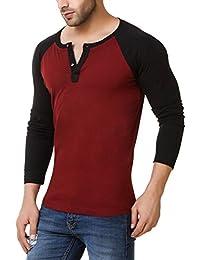 Urbano Fashion Men's Maroon Full Sleeve Henley T-Shirt