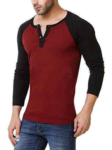 Urbano-Fashion-Mens-Maroon-Full-Sleeve-Henley-T-Shirt