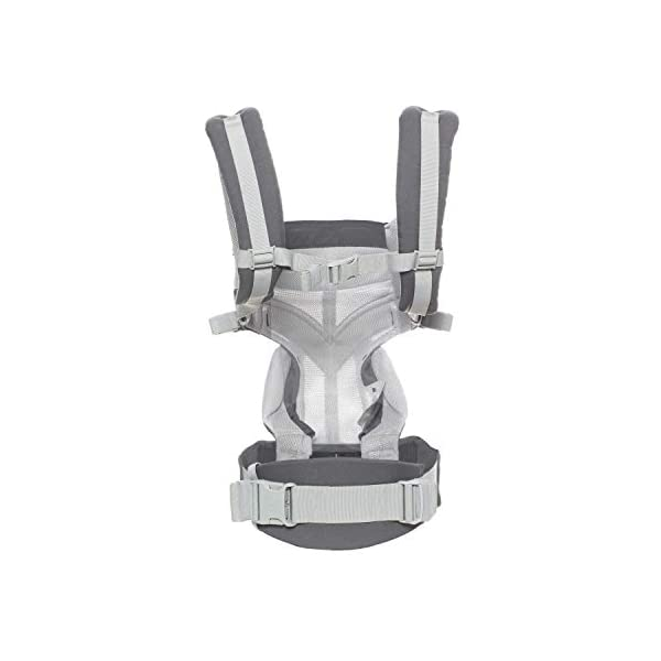Ergobaby Baby Carrier for Newborn to Toddler, 4-Position Omni 360 Cool Air Carbon Grey, Breathable Ergonomic Child Carrier & Backpack Ergobaby BABY CARRIER FOR NEWBORN - Adapts to your growing baby from birth to toddler (7-45lbs). 4 carry positions: front-inward, back, hip, and front-outward. A Baby hood for sun protection (UPF 50+) & privacy for sleeping or breastfeeding is included. COMFORT - Exceptional lower back comfort with padded lumbar support waist belt & extra padded shoulder straps with the option to wear 2 ways: crossed or backpack style. Waist belt can be worn high or low to maximize comfort. COOL & BREATHABLE - Our Cool Air Mesh baby carriers are made with soft and durable mesh fabric that provides our renowned ergonomic support for baby while allowing for ultimate breathability and airflow 8