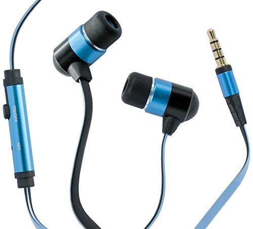 Hi-fun hi-earphones auricolari antigroviglio con cavo piatto e microfono, blu