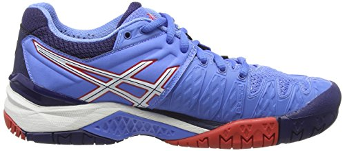4701 Asics 6 resolution Gel hibiscus Tennisschuhe Damen Blue Blau white powder SRSanrwx7q