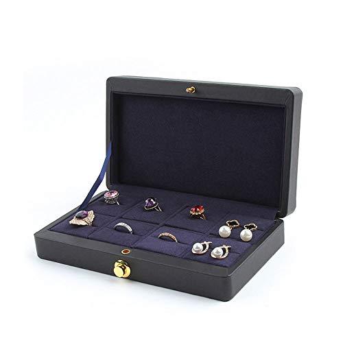 7777777 Frauen Reise-Schmuck-Halter-Kasten Einfache High-End European Portable Leder Mode 8 Jewel Ring Aufbewahrungsbox Schmuck Organizer Box (Schwarzer Gewebe-kasten-halter)