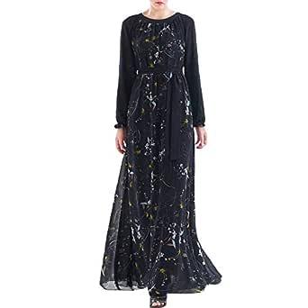 Ethnic Floral Print Abaya Women/'s Long Maxi Dress Kaftan Robe Jilbab Plus Size