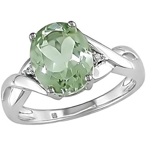 Anello in oro bianco 10 ct con ametista verde in taglio ovale da 10 x 8 mm per 2,20 ct e diamanti da 0,01 ct, I2 - I3, diamanti e pietra incastonati a griffe