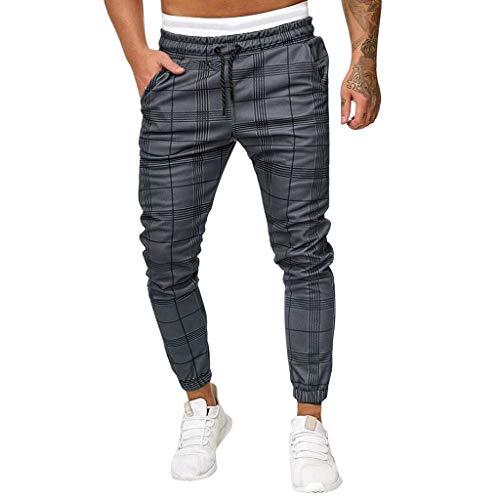 Pantalones Hombre Casuales Moda Impresión a Cuadros Deportivos Running Pants Jogging Pantalon Fitness Gym Slim Fit Pantalones Largos Ropa de Hombre Pantalones de Trekking vpass