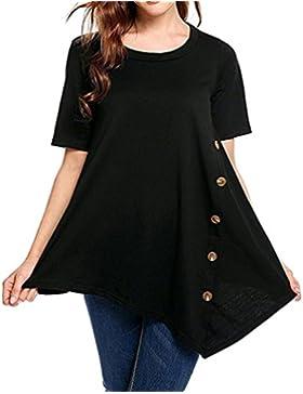Mujer Blusa verano,Sonnena ❤️ ❤️ Talla grande extra Suelto blusa manga corta con lentejuelas decoración para prime...