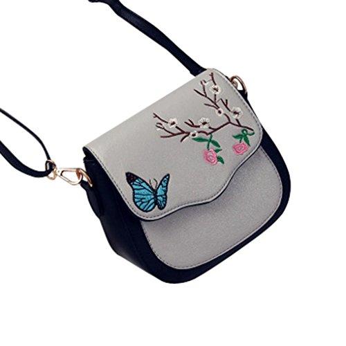 Farfalla fiore stampa borsetta, donne farfalla fiore stampa borsa borsa a tracolla tote Messenger pu borsa in pelle by Kangrunmy Grigio
