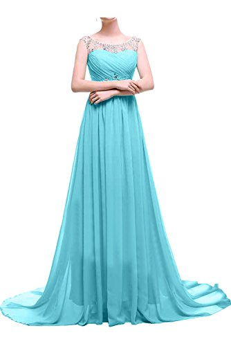 Ivydressing Damen Elegant Lang Abendkleider Chiffon Steine Ballkleid Promkleid Festkleider Blau