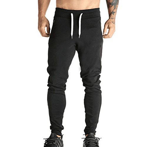 Kootk Men's Slim Fit Jogging Bottoms - Solid Color Skinny Tracksuit With Drawstring Bodybuilding Trousers Running Yoga Training Gym Sweat Pants Bottoms