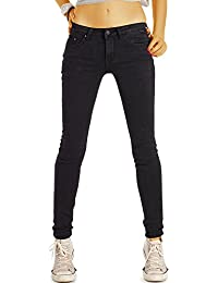Bestyledberlin Damen Super Stretch Jeans, Enge Stretch Skinnyjeans, Basic Black Jeanshosen j62i