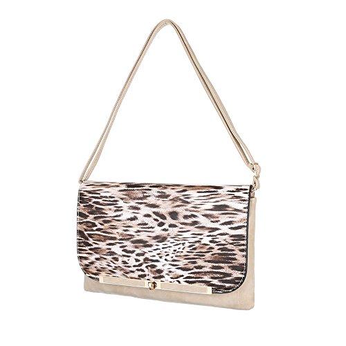 Damen Tasche, Schultertasche, Mittelgroße Umhängetasche, Kunstleder, TA-6160-33 Beige Multi