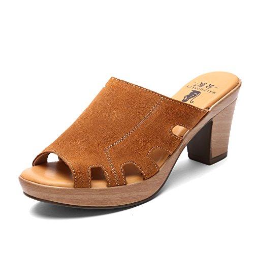 Grezzo in estate con sandali e ciabatte/Sandali tacco alto/Romani Sandali e ciabatte-B Longitud del pie=22.3CM(8.8Inch)
