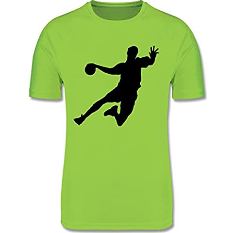 Sport Kind - Handball - 140 (9-11 Jahre) - Limonengrün - F350K - atmungsaktives Laufshirt / Funktionsshirt für Mädchen und Jungen