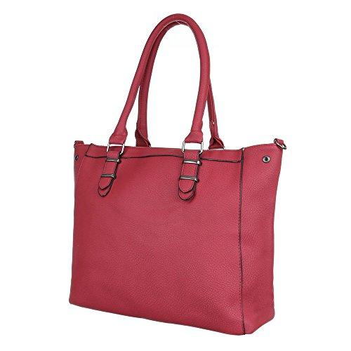 Damen Tasche, Schultertasche, Mittelgroße Handtasche, Kunstleder, TA-C513 Rot