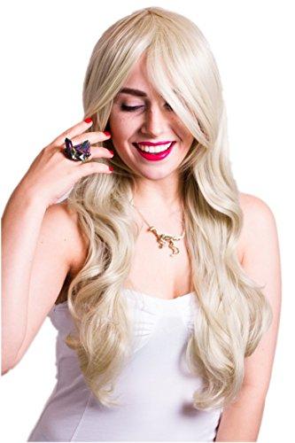 Prettyland C686 - Light Cap Biondo ondulato 70 cm lunga parrucca sintetica dei capelli Abbastanza Paese