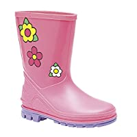 Poshtotz Infant Pink Floral Puddle Wellington Boots Girls (Infant 3 - Infant 10)
