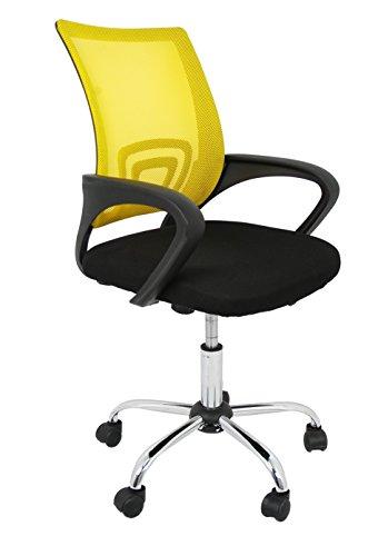 Silla de oficina amarilla estilo español con reposabrazos fijo