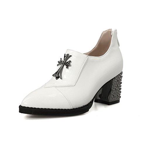 AgooLar Damen Spitz Zehe Mittler Absatz Lackleder Eingelegt Reißverschluss Pumps Schuhe Weiß