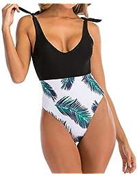 HEARTBEAT Nuevo Bikini Traje De Baño De Una Pieza con Costuras De Correa Traje De Baño con Estampado De Hojas Traje De Baño Floral Arrugado Traje De Baño Floral Ahuecado Traje De Baño con Volantes