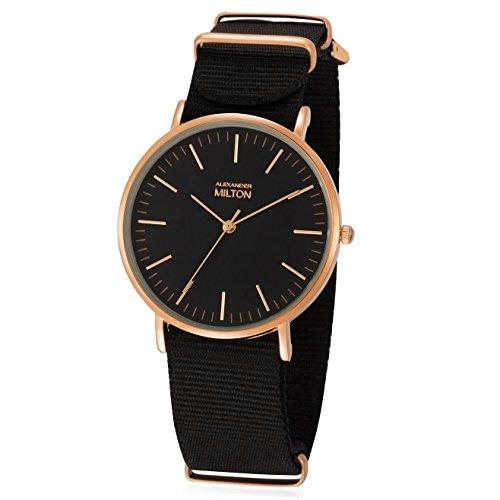 ALEXANDER MILTON - montre homme - LAREN, noir/dore rose