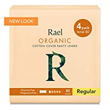 Rael 100% Organic Cotton Regular Panty Liners - Unscented PantIliners - Natural Daily Pantyliners (4 Pack) (Regular)