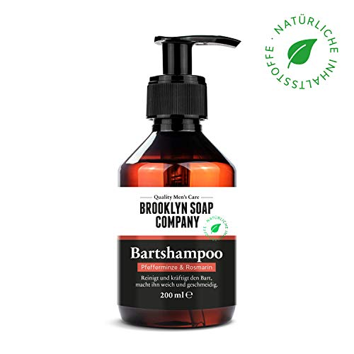Bartshampoo, Bartseife, Beard Wash 200 ml Reinigung und Pflege für den Bart - Naturkosmetik der BROOKLYN SOAP COMPANY ® Die natürliche Bartpflege für den modernen Mann auch als Geschenkidee -