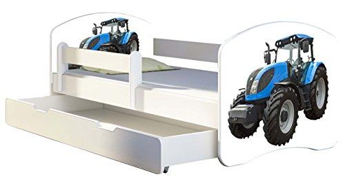 Kinderbett Jugendbett mit einer Schublade und Matratze Weiß ACMA II 140 160 180 40 Design (140x70 cm + Bettkasten, 42 - Matratze Nachricht