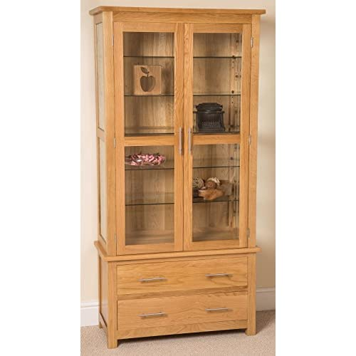 Oslo Solid Oak And Glass Display Cabinet, (90 x 40 x 185 cm)