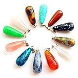 Juego de 12 colgantes de piedras preciosas para pulseras, collares, pendientes, pulseras, regalo de cumpleaños para mujeres y niñas (Water drop B)