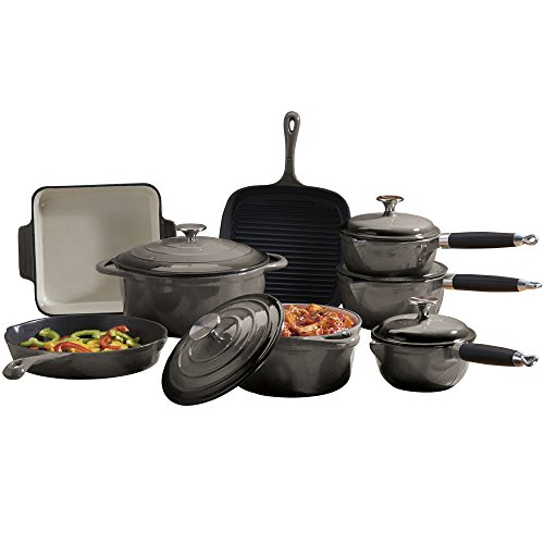 Cast Iron Cookware with Casserole Dish, Griddle, Saucepans & Frying Pans, 8 Piece Set by Cooks Professional (Grey)