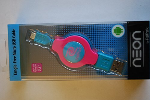 ReTrak etneonm5p Kabel Micro USB Retractable Premier-Neon Pink/Blau