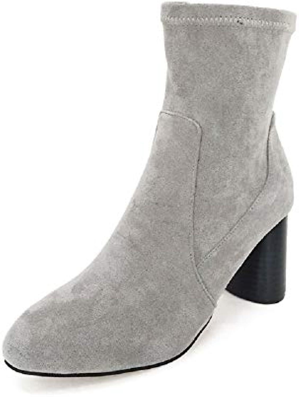 Fuxitoggo Block Block Block stivali for donna Zipper Ankle Short Chelsea scarpe (Coloreee   Grigio, Dimensione   EU 36)   Acquisto    Uomo/Donna Scarpa  ec93a1