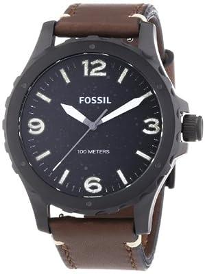 Fossil Nate - Reloj de cuarzo para hombre, con correa de cuero, color marrón