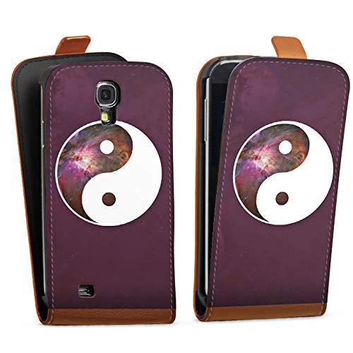DeinDesign Tasche kompatibel mit Samsung Galaxy S4 Mini Flip Case Hülle Ying Yang Galaxie Galaxy