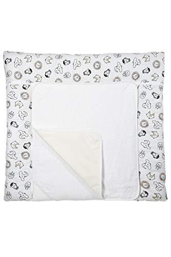 Meyco 428056 3-Keil Wickelauflage mit abnehmbaren Frotteebezug, ANIMAL, Weiß Dot Keil