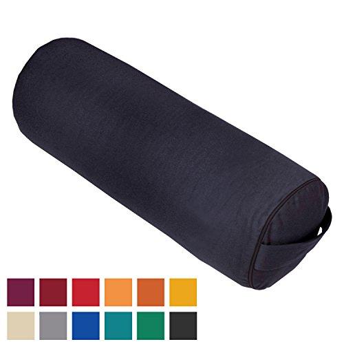 Bodhi Yoga-Bolster Made in Germany aus unserer Manufaktur, 65 x Ø 23cm, schwarz, mit Dinkel gefüllt