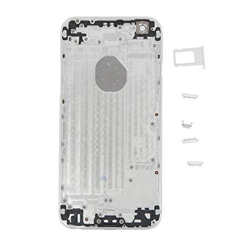 cover back per Iphone 6 in metallo 11,94 cm (4,7) Alluminum-Cover posteriore di ricambio per alloggiamento Cornice batteria con Logo originale, colore: bianco silver con bordo e colori per lopzione, bianco