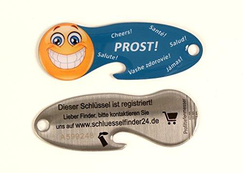 Code24 Einkaufswagenlöser Smilkey \'Prost!\', Flaschenöffner als Schlüsselanhänger mit Einkaufschip & Schlüsselfinder, inkl. Registriercode für Schlüsselfundservice, Einkaufswagenchip