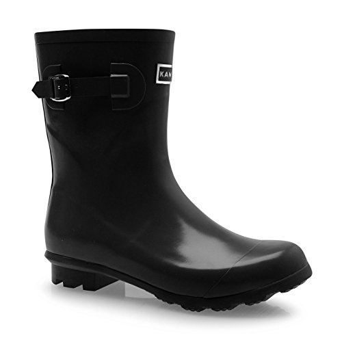 Kangol Womens Low Ladies Wellies Slip On Wellington Boots Rubber Rain Black...