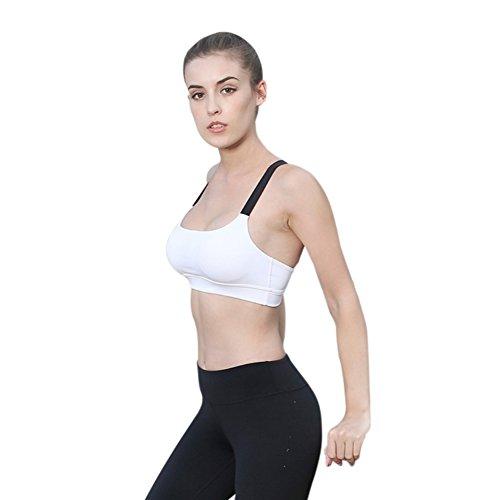 Wongfon Reggiseno sportivo fitness yoga professionale in esecuzione fitness biancheria intima antiurto sportivo biancheria intima reggiseno sportivo bianco