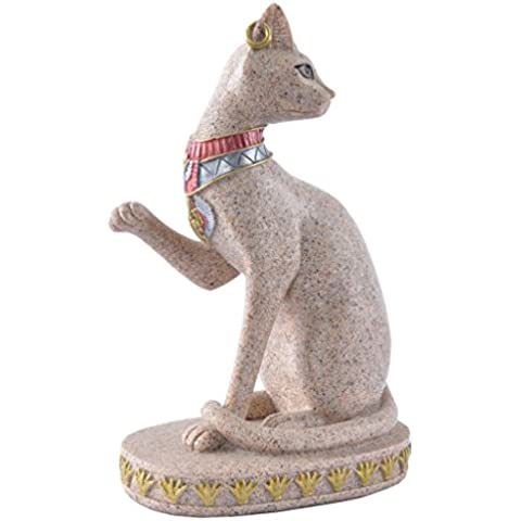 Estatua Escultura de Piedra Arenisca Figurilla Gato de Antigua Egipcia Tallada a Mano