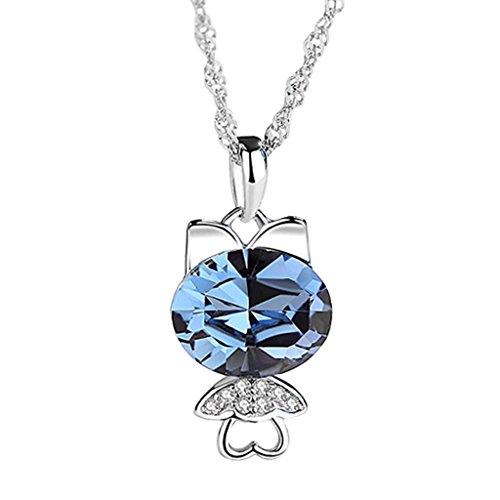 Anhänger Halskette S925 Silber Minimalismus Stil Schlüsselbein Ketteneinsatz Zirkonium Bohrer Schmuck Geschenk (Color : Blue) ()