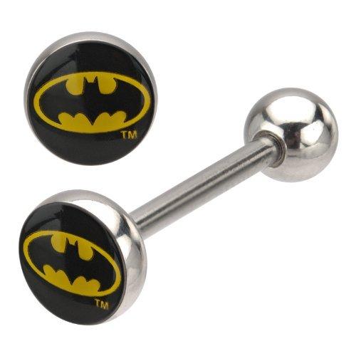 Buzz - Piercing a barretta per adulti, con logo di Batman, in acciaio chirurgico, 14G