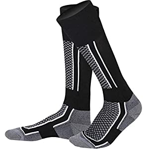 HATCHMATIC Outdoor-Winter-Warmer Thermal Ski Stocking Lauf Snowboard Camping Wandern Soccer Soft Socken Dickere Radfahren Unisex-Socken: Schwarz