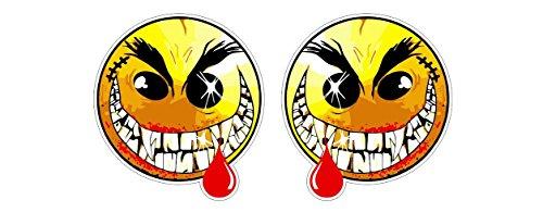 Scary Evil smiling Vampire Smiley Emoticon Face gruselig Skateboard Aufkleber Sticker + Gratis Schlüsselringanhänger aus Kokosnuss-Schale + Auto Motorrad Laptop Tuning Racing Motorsport Hoonigan
