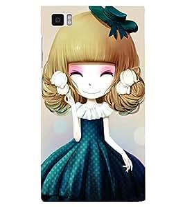 Printvisa Sweet Girlin Green Back Case Cover for Xiaomi Redmi Mi3::Xiaomi Mi 3