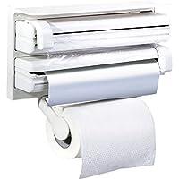 Montado en la pared dispensador de rollo de papel para papel film, antom 3en 1cocina toalla de papel y película