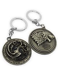 01a22e2f2bb Kolossalz Silver Game of Thrones Metal Keychains keyrings for Bike Car Men  Boys (Set of